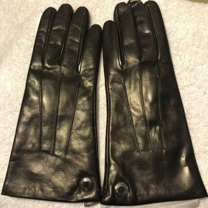 COACH~100% CASHMERE LINED MAHOGANY LEATHER GLOVES